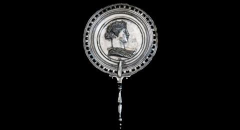 Antiker römischer Spiegel mit einem figurativen Emblem