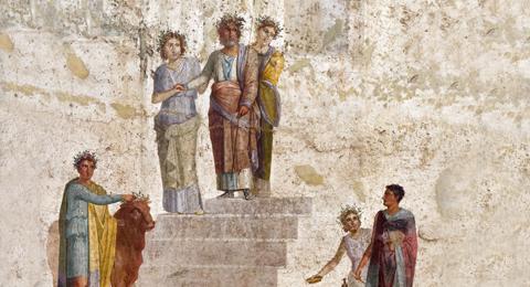 Pelias, König von Iolkos, stoppt auf den Stufen eines Tempels als er den jungen Jason anhand seiner fehlende Sandale erkennt