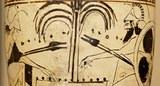 Zwei brettspielende Bewaffnete, dazwischen Inschriften (Nachweis: Louvre MNB 911, photographiert von Marie-Lan Nguyen, gemeinfrei.
