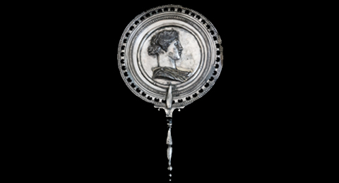 Ancient roman mirror with a figurative emblem, silver, 1st c.CE. From-the treasure of the House-of Menander in Pompeii, Italy, Source: Jebulon.